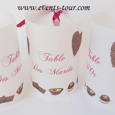 Marque-table photophore: Chocolat (x2) REF/10251