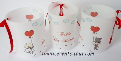 Marque-table photophore mariage: Amour (x2) REF/10236