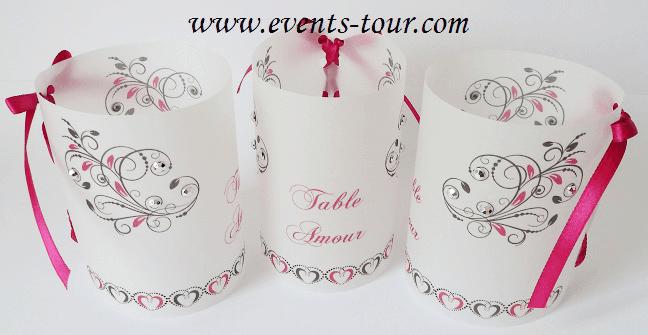 Marque table photophore mariage heart x2 ref 10241 - Marque nom pour table ...
