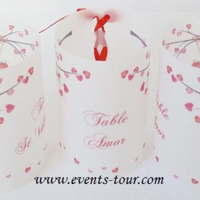 Marque-table photophore mariage: Romance (x2) REF/10238
