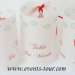 Marque-table photophore mariage: Montgolfière (x2) REF/10240