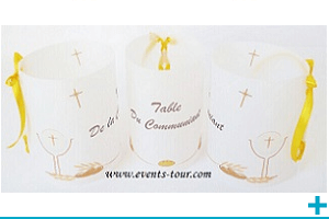 Marque table photophore calque communion