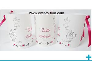 Marque table photophore calque personnalisable mariage