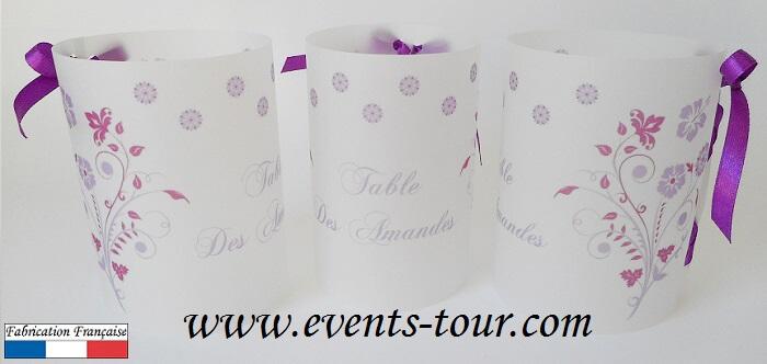 Marque table photophore parme et violet