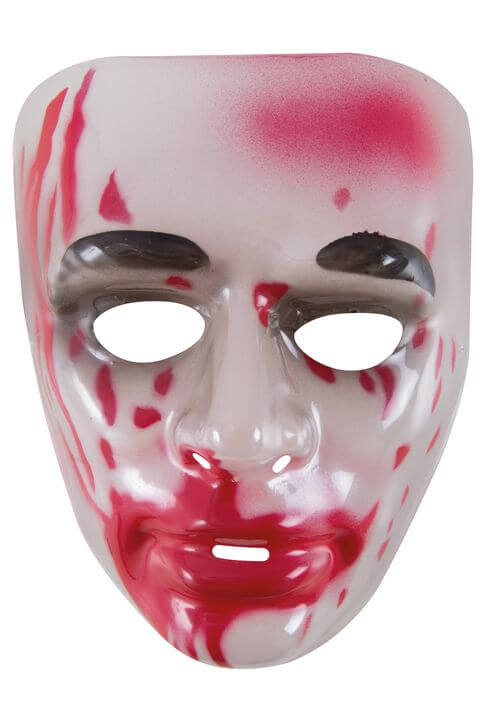 Masque adulte halloween transparent avec du sang