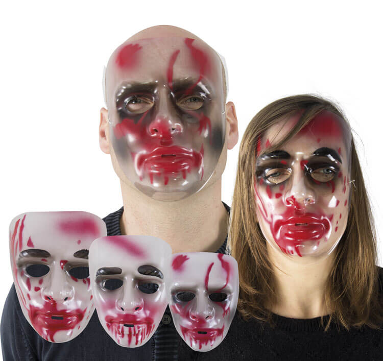 Masque adulte halloween transparent avec sang