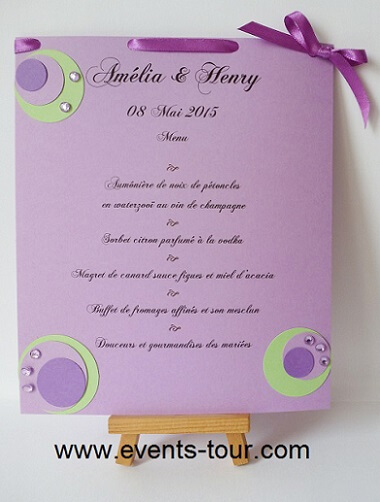 Menu de table bulle parme violet