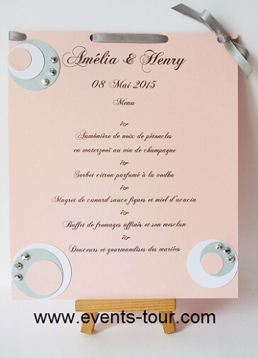Menu de table bulle rose