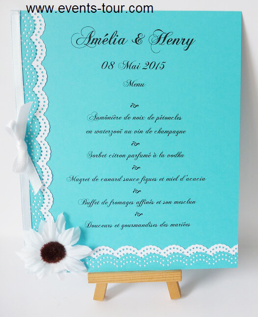 Menu de table dentelle