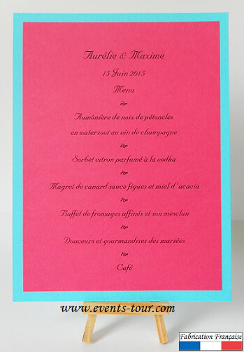 Menu de table fuchsia bleu turquoise 1