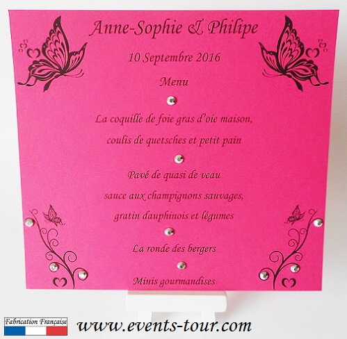Menu de table papillon fuchsia