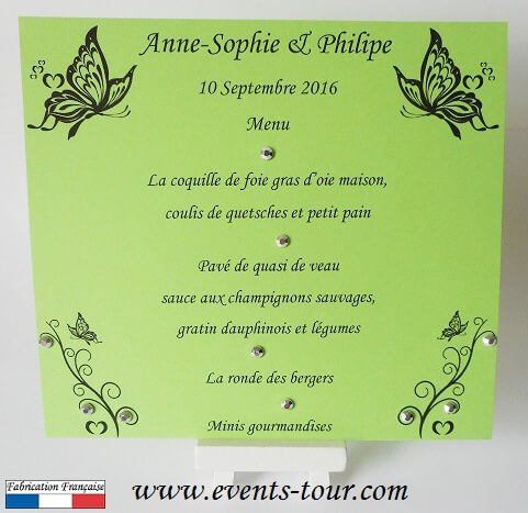 Menu de table papillon vert