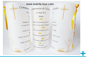 Menu photophore calque personnalisable communion
