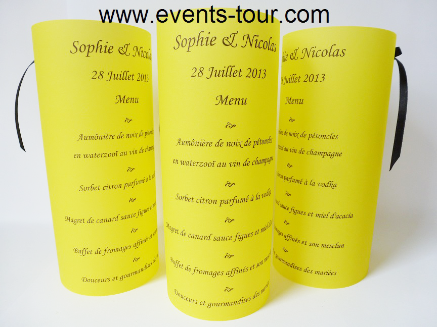 Menu photophore jaune