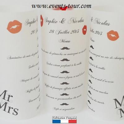 Menu photophore mariage: Mr et Mrs (x1) REF/10305