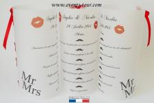 Menu photophore mariage: Mr et Mrs (x1) REF/10305