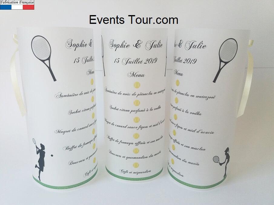 Menu photophore mariage tennis