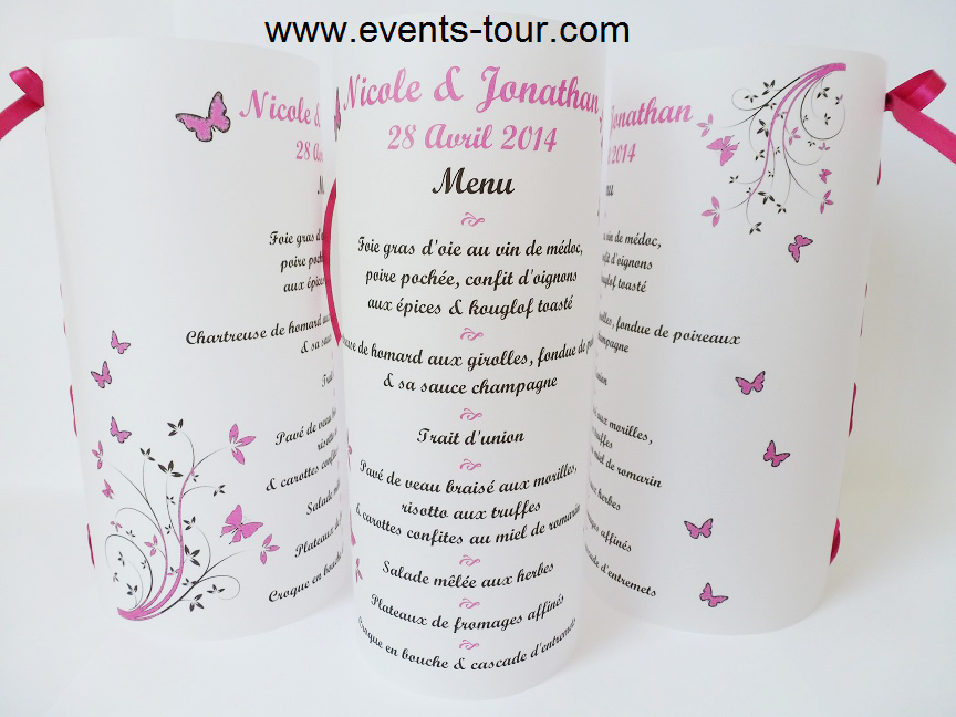 Menu photophore papillon fuchsia