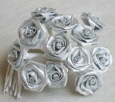 Mini rose metallise argent