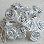 Mini rose métallisée argent (x12) REF/FL525L