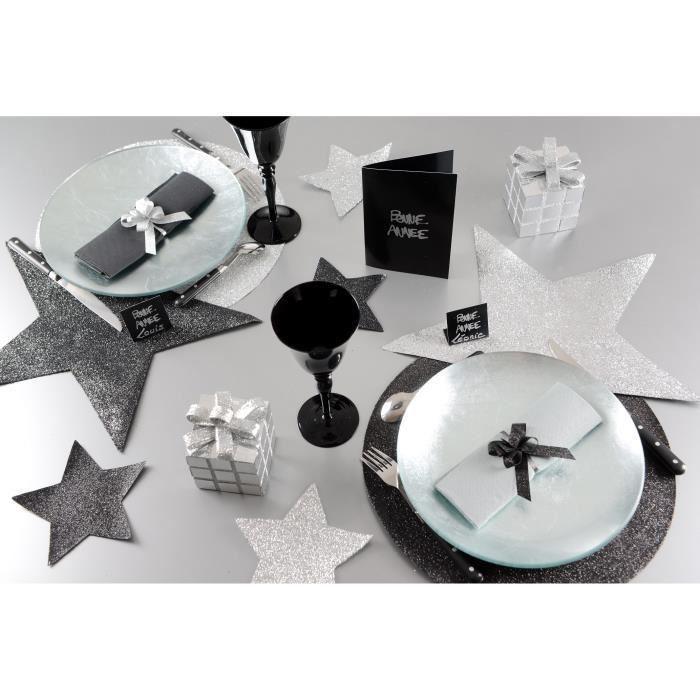 Mini set de table etoile pailletee noir x2 ref 3