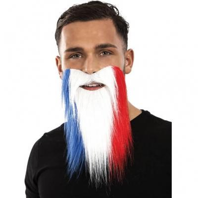 Moustache et barbe supporters France tricolore bleu, blanc et rouge (x1) REF/18181