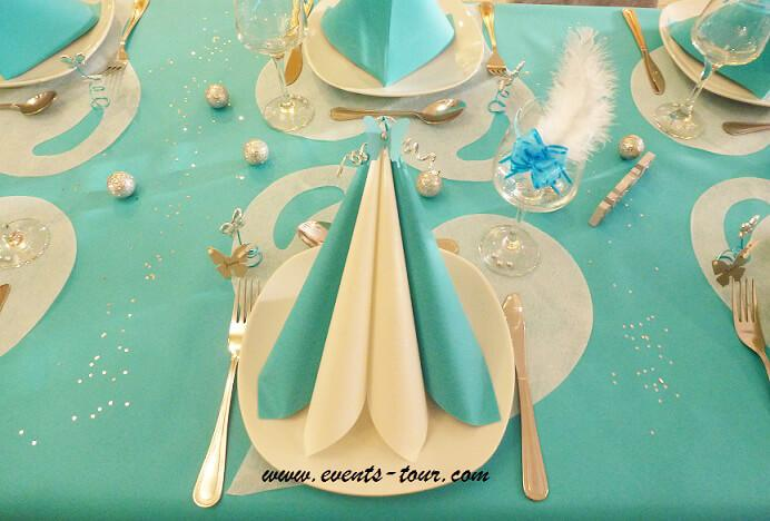 Nappe jetable bleu turquoise airlaid en 25m