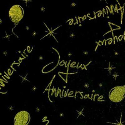 Nappe joyeux anniversaire pailletée: Vert et noir (x1) REF/4760
