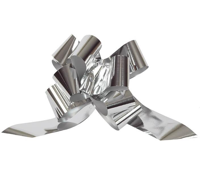 Noeud automatique argent metallique pour decoration 50mm