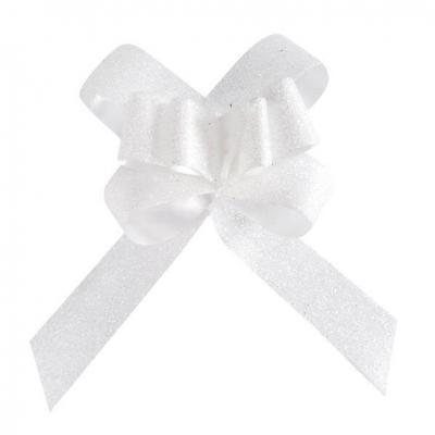 Noeud automatique pailleté blanc, 14mm (x10) REF/3557
