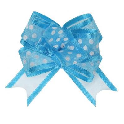 Noeud automatique organdi pois bleu turquoise (x5) REF/5137