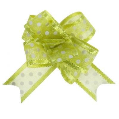 Noeud automatique organdi pois vert (x5) REF/5137