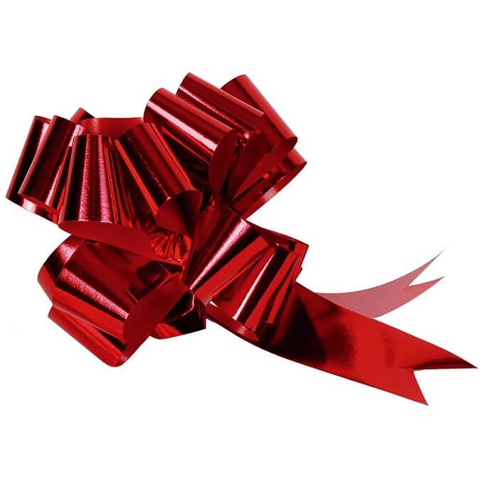 Noeud automatique rouge metallique pour decoration 50mm