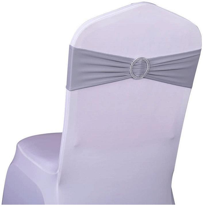 Noeud bandeau gris en location pour housse de chaise pas de calais