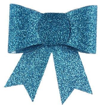 Noeud bleu turquoise paillete sur pince