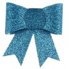 Noeud bleu turquoise pailleté sur pince (x2) REF/4414