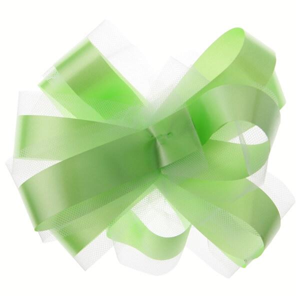 Noeud decoratif voiture en tulle vert