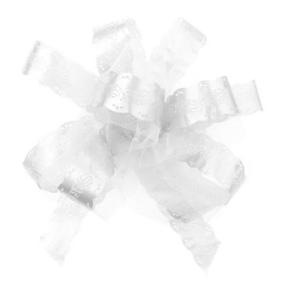 Noeud géant automatique tulle blanc (x5) REF/2789