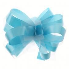 Noeud automatique tulle bleu turquoise (x5) REF/70178