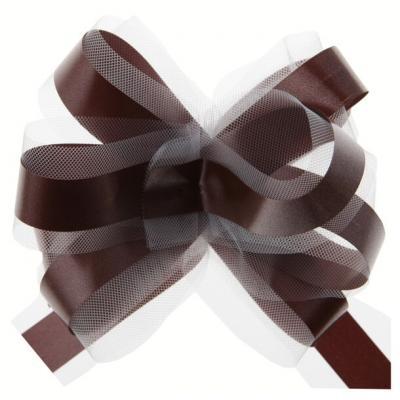 Noeud automatique tulle chocolat (x5) REF/70178
