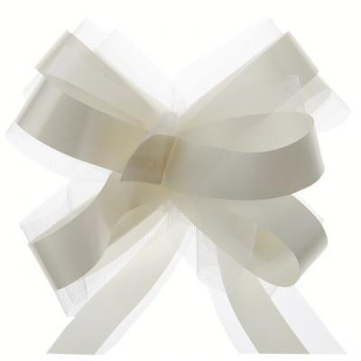 Noeud automatique tulle ivoire (x5) REF/70178