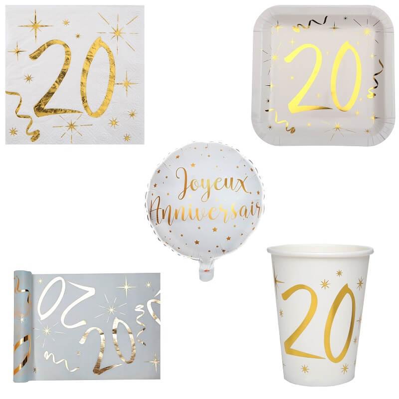 Pack anniversaire 20ans blanc et or