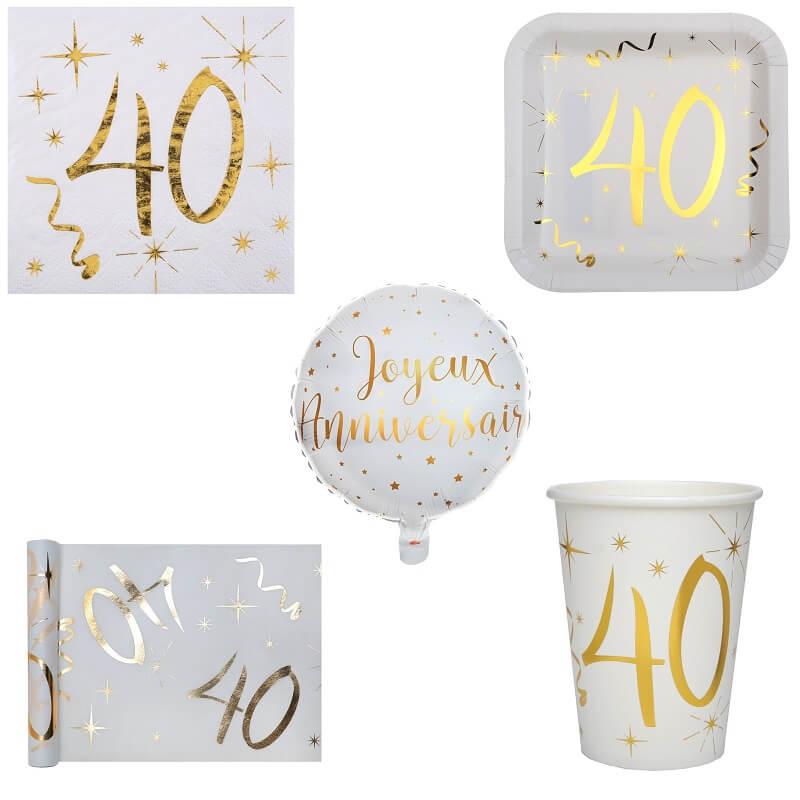 Pack anniversaire 40ans blanc et or