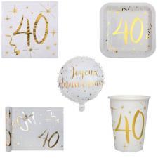 1 Pack anniversaire 40ans de 10 personnes blanc et or