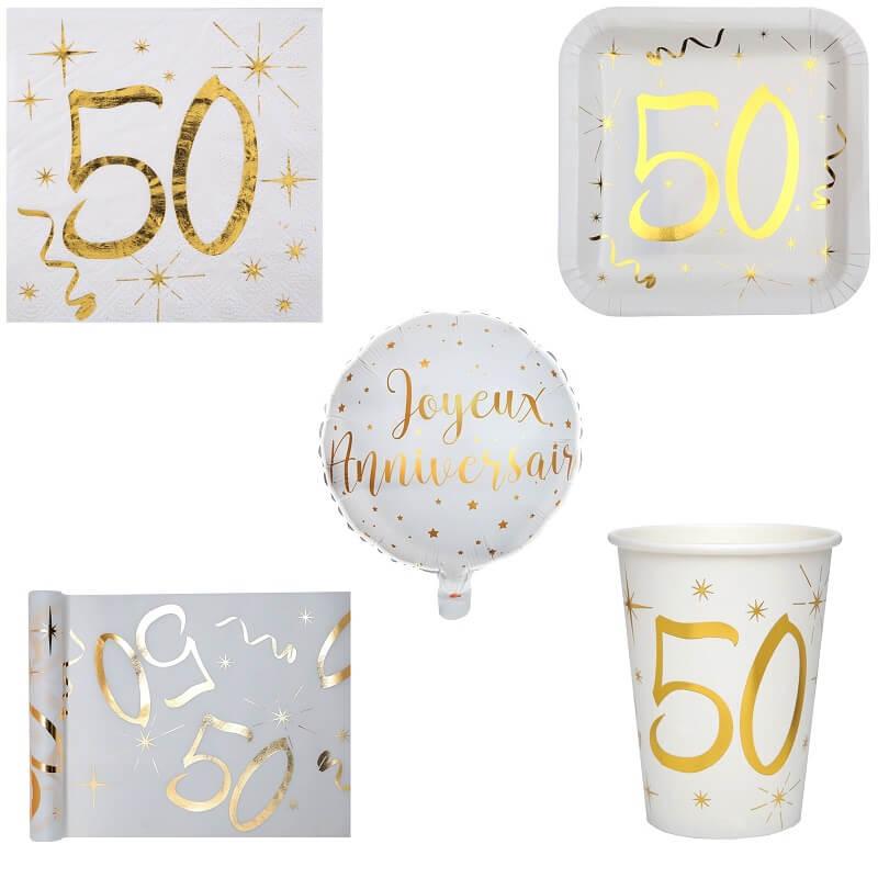 Pack anniversaire 50ans blanc et or