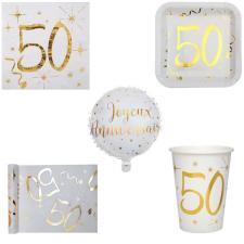 1 Pack anniversaire 50ans de 10 personnes blanc et or
