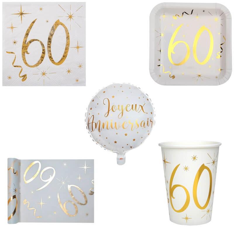 Pack anniversaire 60ans blanc et or