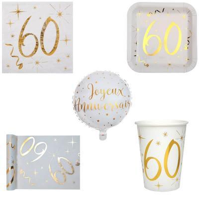 1 Pack anniversaire 60ans de 10 personnes blanc et or