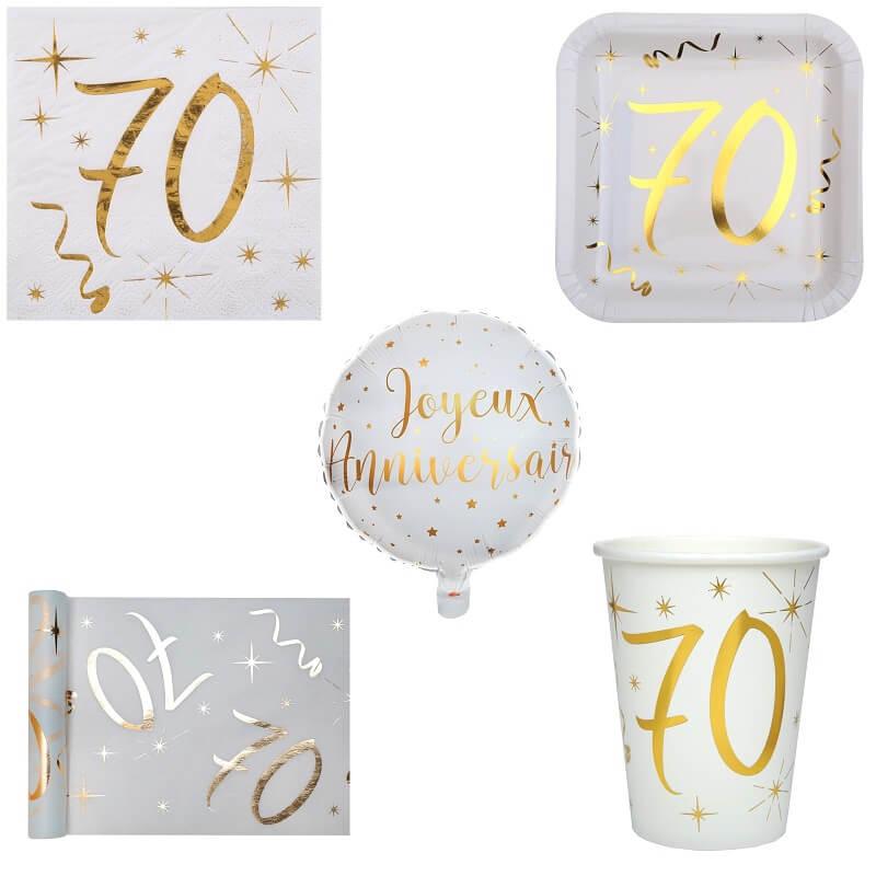 Pack anniversaire 70ans blanc et or