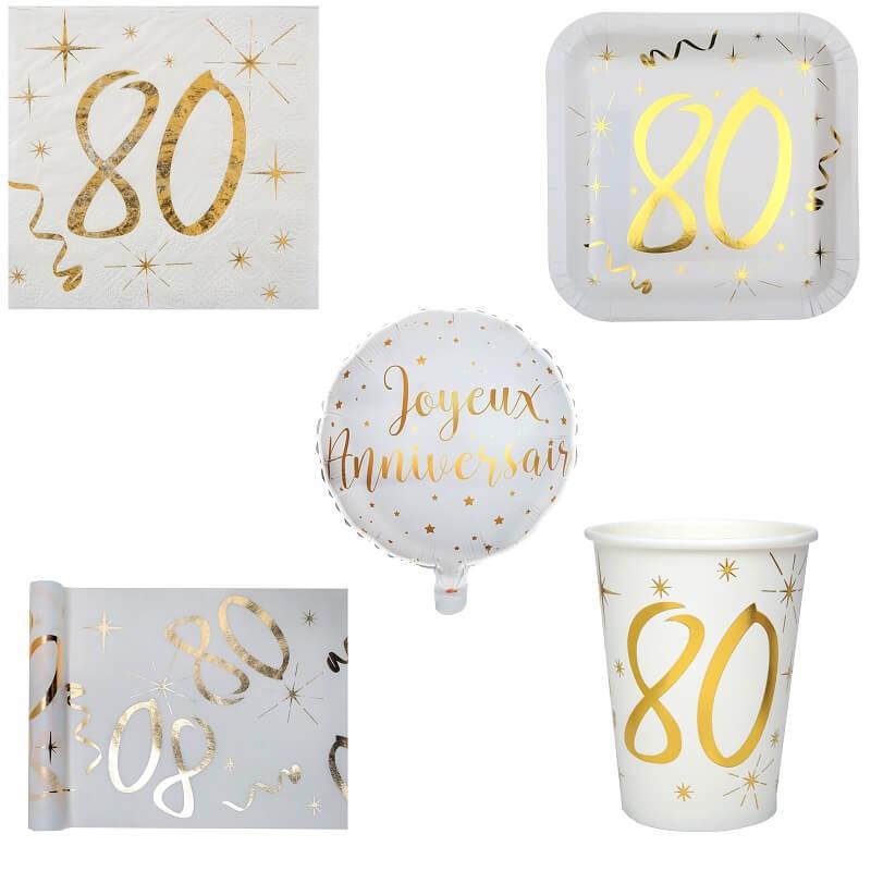 Pack anniversaire 80ans blanc et or